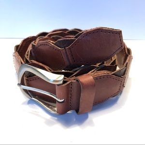 Ike Behar Retro Brown Leather Belt Geometric Sz36